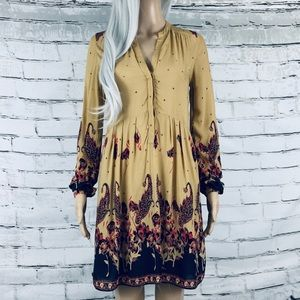 Free People Long Sleeve Floral Skater Fall